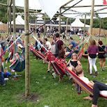 Dance Valley festival hammocks in Velsen, Noord Holland, Netherlands