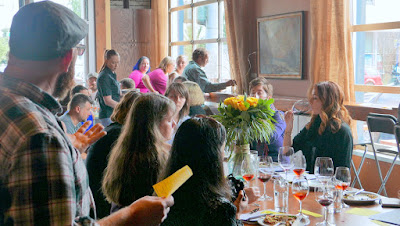 Tesoaria Wine and Vegan Food Pairing at a vegan brunch - owner and winemaker John Olson describing the wine