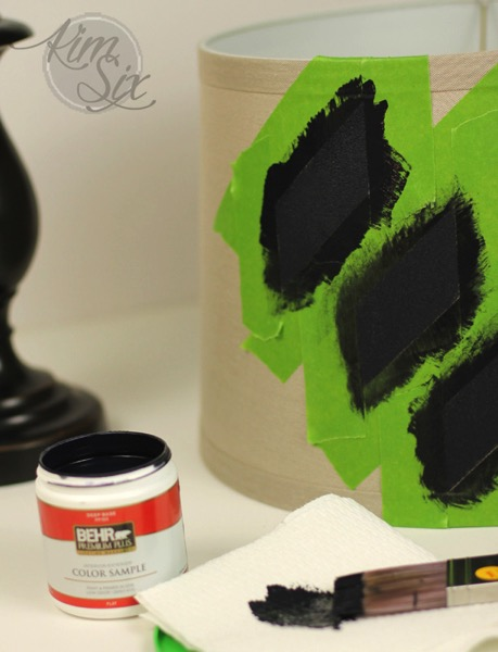 Painting a lampshade with stencil
