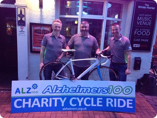 Antony Spence (Delmar Press), Darren Greatbanks & Andy Williams (Williams Cycles) outside the White Horse pub in Nantwich
