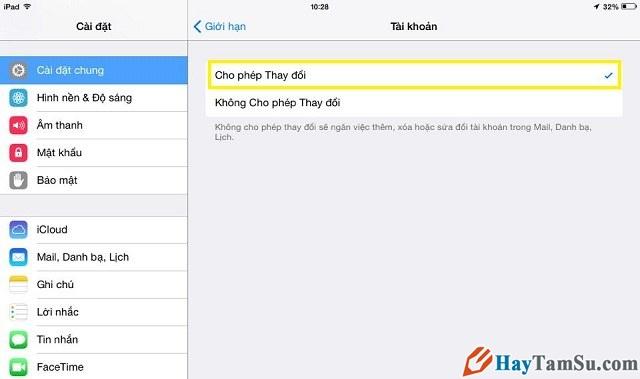 cho phép thay đổi tài khoản iCloud