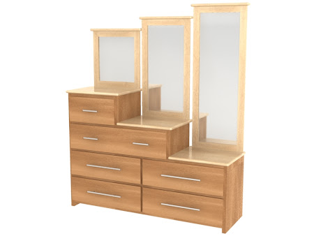 Waterfall Horizontal Dresser with Mirrors, in Natural Maple