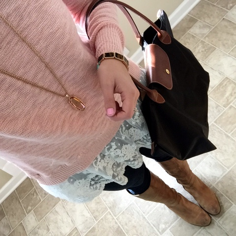 lace sweater, kendra scott necklace