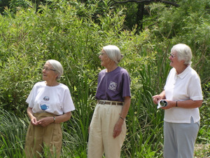 Louie Lawton, Bessie Weatherston, Lorna McEwen, at Karner Fram, 2003. Photo by Doug McEwen. Permission granted.