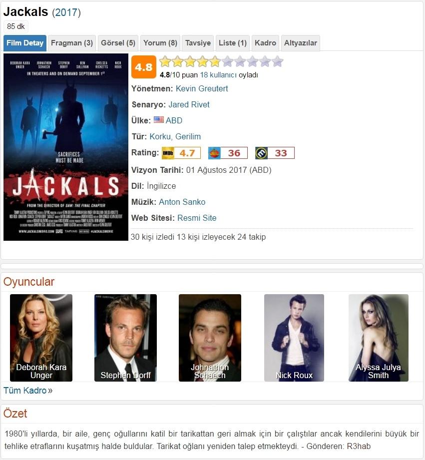 Jackals 2017 - 1080p 720p 480p - Türkçe Dublaj Tek Link indir