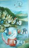 impresja nt.: ogród ziemskich rozkoszy Hieronymusa Boscha 70x120cm, olej, płótno, pędzel