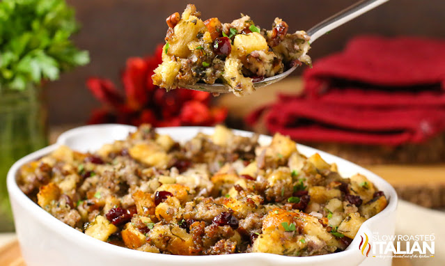 Sausage Cranberry Apple Stuffing Recipe in casserole dish