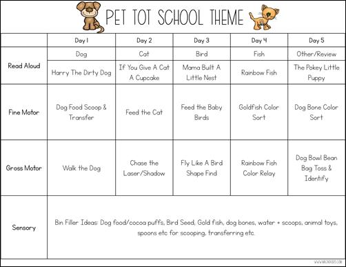 Pets Tot School Theme