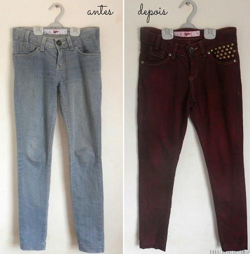 Customização de calça jeans com corante e tachas