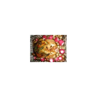 Whole Roasted Chicken With Radishes and Onions