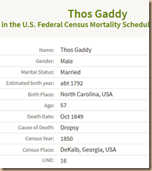 Thomas Gaddy Mortality