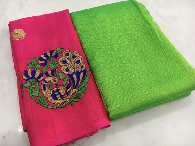 New Dual Tone Silk Plain Saree Design