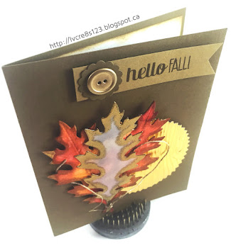 Linda Vich Creates: Vintage Leaves and Happy Scenes. A trio of colorful and embossed oak leaves lie on top of a woodgrain gold sunburst on this one layer card.