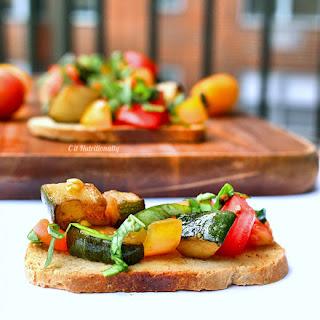 Skinny Tomato and Zucchini Bruschetta