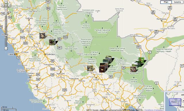 Localisation des photos au Pérou - carte