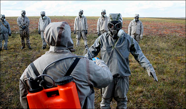 The Russian defence ministry deployed biological and chemical warfare troops to destroy infected carcasses of reindeer, during the anthrax outbreak of Summer 2016. Photo: Vesti.Yamal, press service of Yamalo-Nenetsk Governor's Office