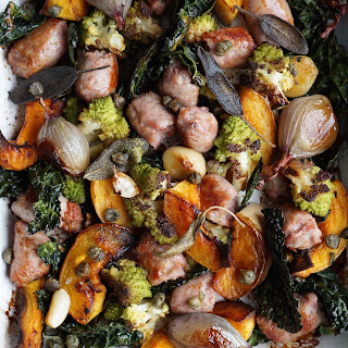 Tray Roasted Butternut, Romanesco And Sausage With Sage Oil