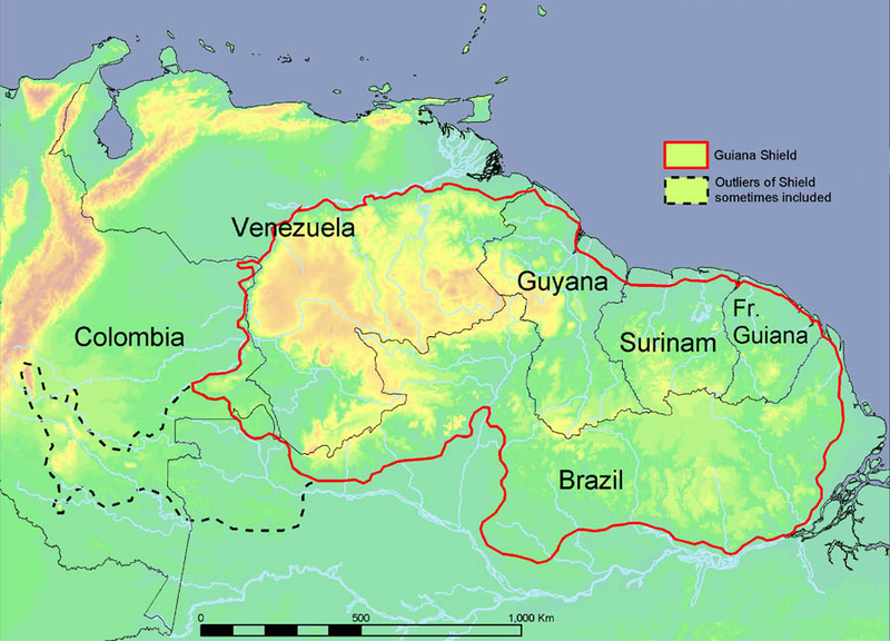 Guiana Shield The Last Place On Earth - World map showing amazon river