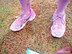 Mike's sneakers were seriously purple.