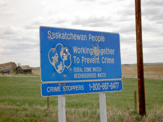 Welcome to Saskatchewan (Note bullet holes)