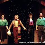 Rita Russell, Christine Boice Saplin, Eileen McCashion and Colin McCarty in ON THE VERGE - January/February 2000.  Property of The Schenectady Civic Players Theater Archive.