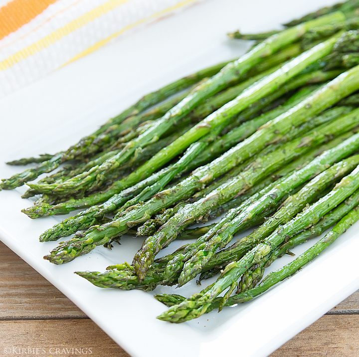 close-up photo of ranch roasted asparagus on a serving plate