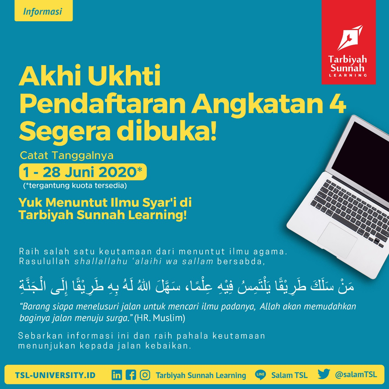 Yuk menuntut ilmu syar'i di Tarbiyah Sunnah Learning.