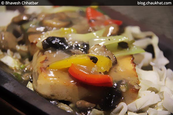 Close-up of Tofu Steak at SocialClinic Restobar in Koregaon Park area of Pune
