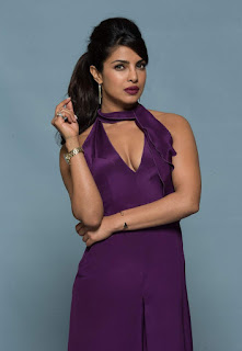 Priyanka Chopra in Deep Neck Purple Sleeveless Gown