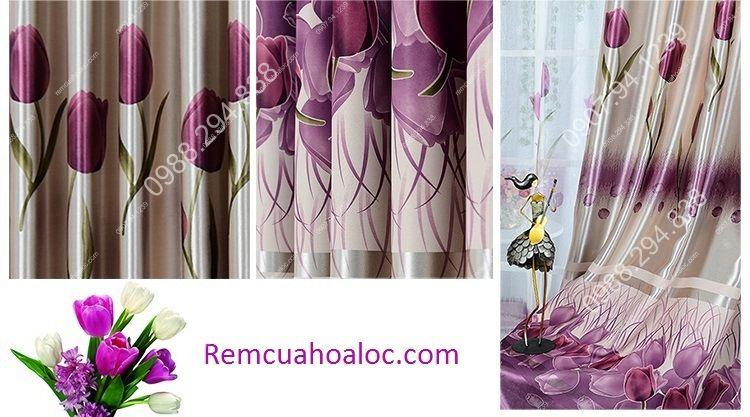 Rèm cửa giá rẻ hà nội họa tiết hoa tulip  4
