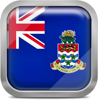 Cayman Islands square flag with metallic frame