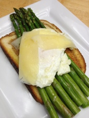 Eating Dinner With My Family: Asparagus And Fried Eggs On Garlic Toast