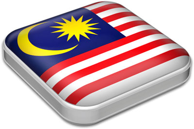 Flag of Malaysia with metallic square frame