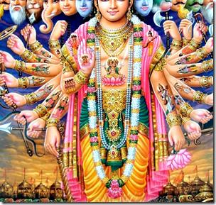 [Krishna protecting Arjuna]