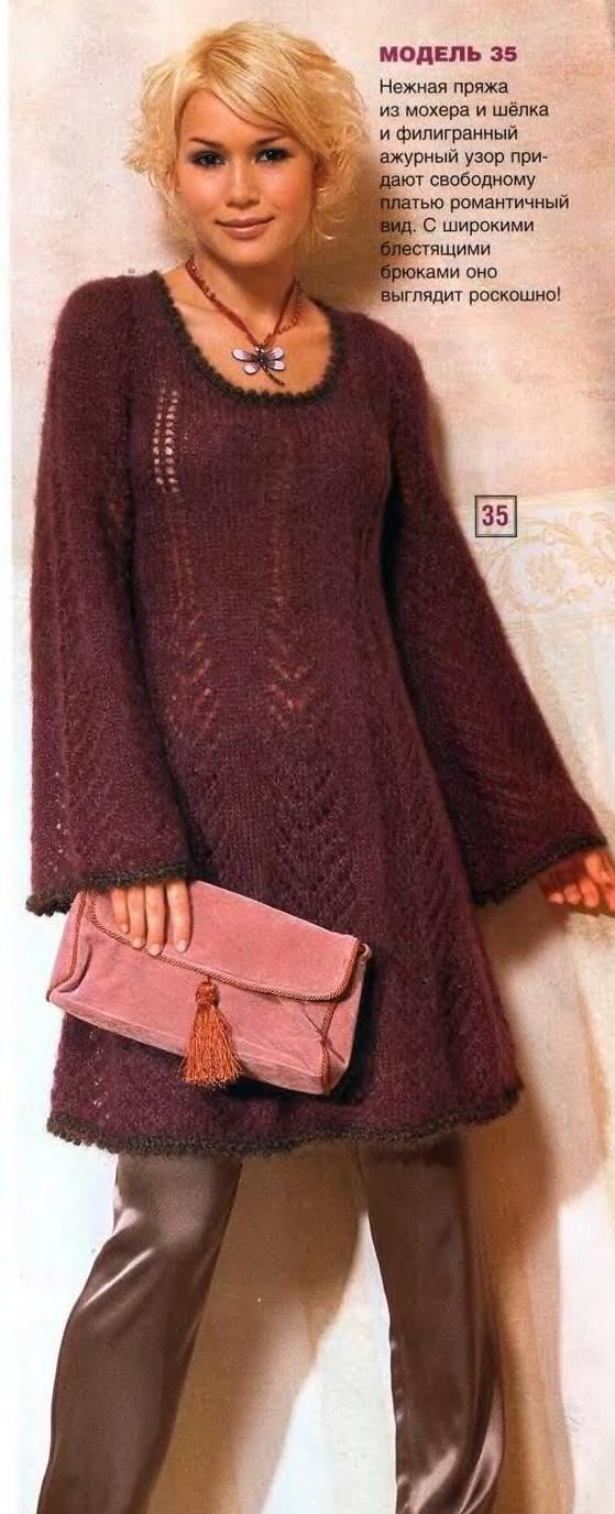Схема вязания расклешенного платья из мохера