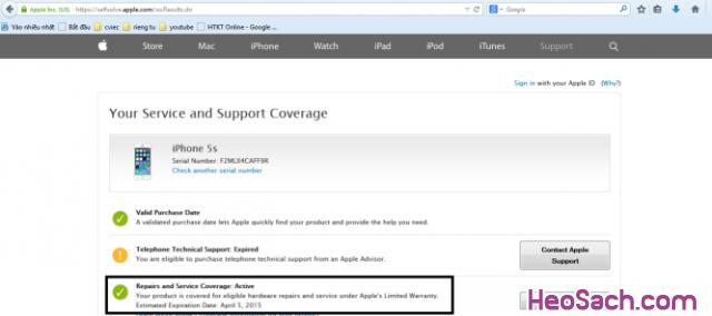 Hình 5 - Hướng dẫn kiểm tra bảo hành, xuất xứ điện thoại iPhone, iPad