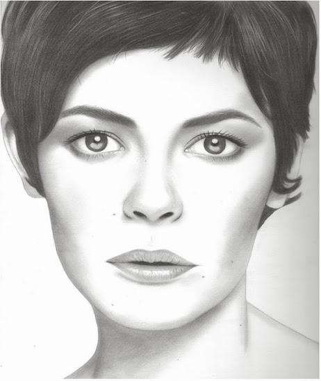 Retrato de Audrey Tautou de la retratista Carmen Ortiz