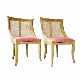 Cape-Lilac Mahogany Cane Back Chair Pair