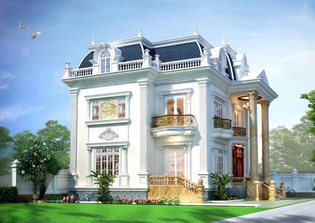 Biệt thự hai tầng tân cổ điển đẹp được thiết kế theo kiến trúc Pháp