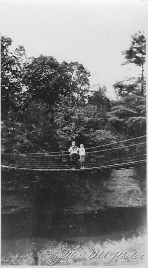 kids on a suspension bridge Tin Ceiling