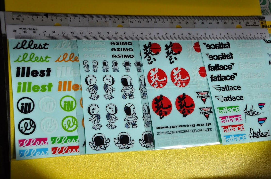 Illest, Asimo, JS Racing Japan and Fattlace - Mini Decal Sticker vinyl