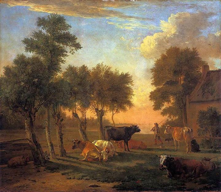 Paulus Potter - Cows in a Meadow near a Farm