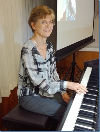 Denise Gunson playing the Club's Yamaha Clavinova CVP-509. Photo courtesy of Dennis Lyons.