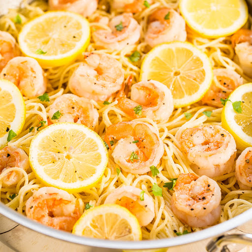 Lemon Butter Garlic Shrimp With Angel Hair Pasta