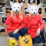 WWW.ENTSIMAGES.COM -   K9 Angels Victoria Eisermann and  Pola Pospieszalska    at  Save Kimi hits London -  Animal lovers protest at Burberry store London October 24th 2014FOUR PAWS submits over 200,000 votes of protest to the British fashion label.FOUR PAWS is an international animal welfare organisation making a stand against the cruelty of the fur animal industry.                                                Photo Mobis Photos/OIC 0203 174 1069