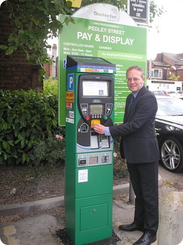 Glen Williams with a new parking meter