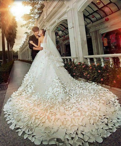 Vestido de novia papel crepe