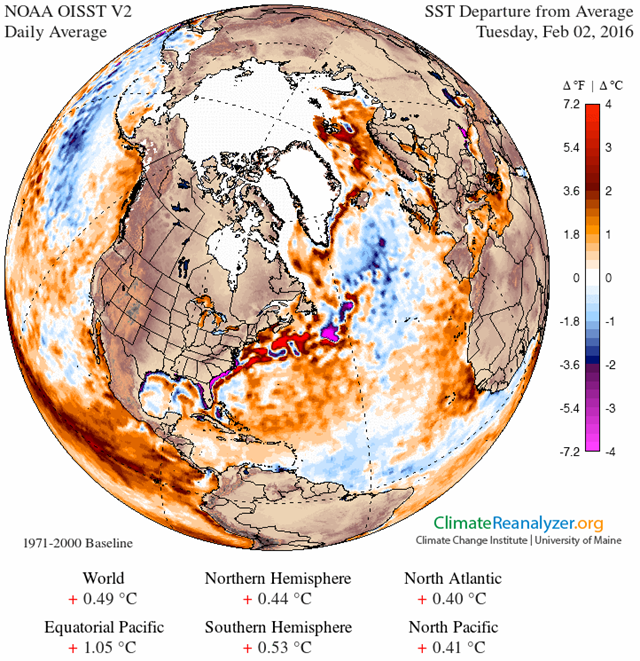 Sea surface temperature anomaly for the Atlantic Ocean, 2 February 2016. Graphic: Climate Reanalyzer