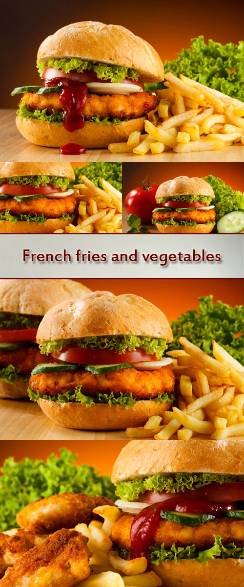 Stock Photo: Big hamburger, French fries and vegetables