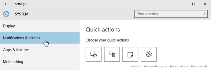 Quick Actions in Windows 10 (www.kunal-chowdhury.com)